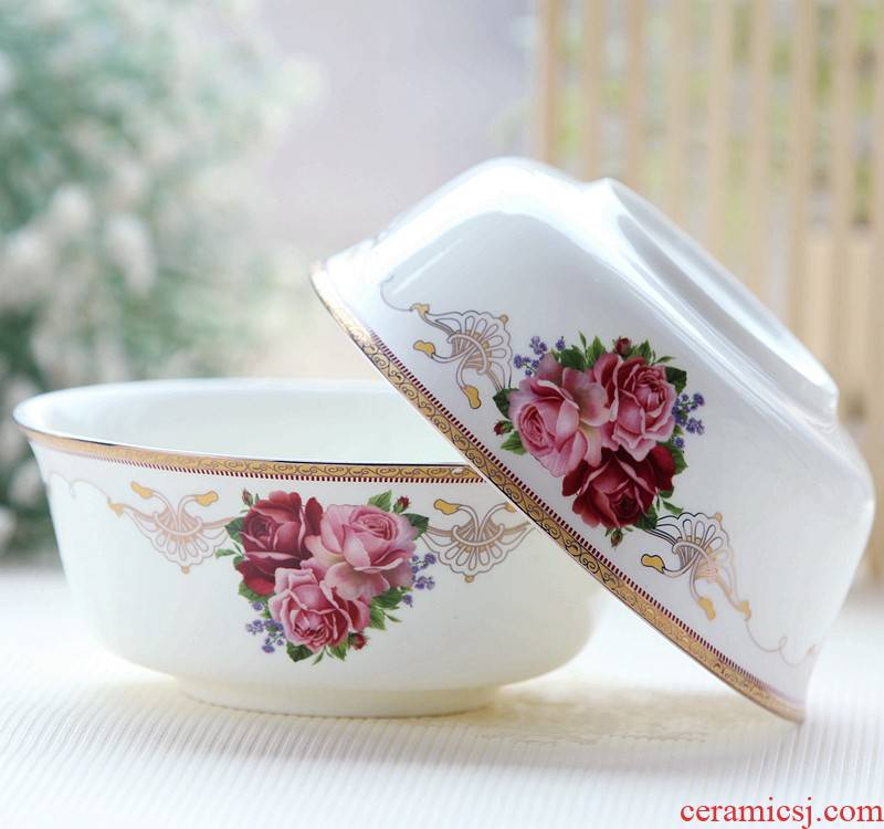 Korean creative 6 inches mercifully rainbow such use ceramic bowl suit ipads bowls of rice bowl bowl bowl cutlery set