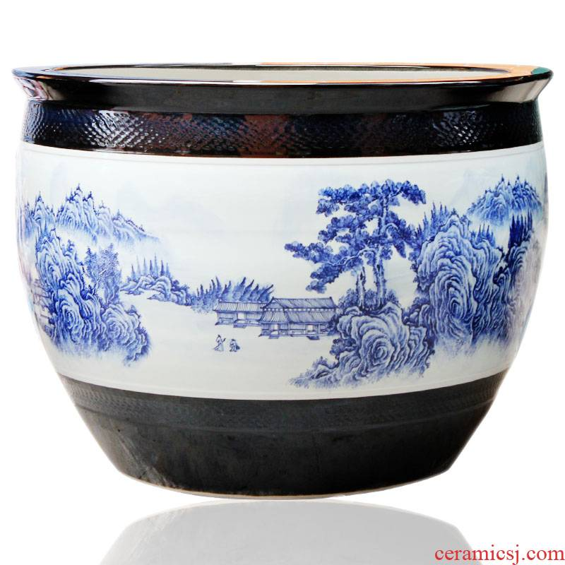 Yg0 jingdezhen ceramic checking painting tank large flower pot of blue and white porcelain garden furnishing articles to heavy large