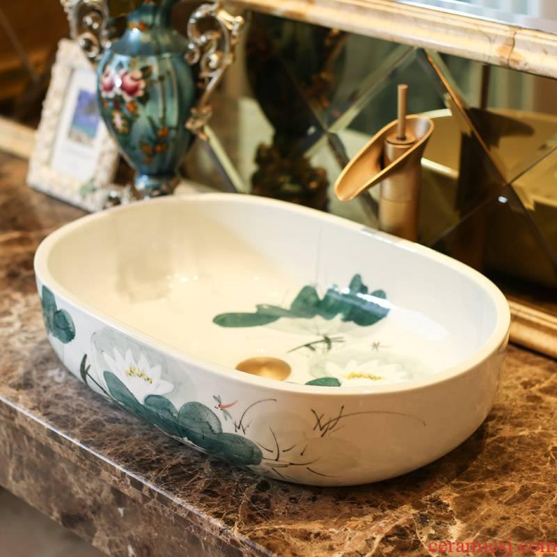 Jingdezhen rain spring basin art ceramics on elliptic basin suit the lavatory toilet lavabo