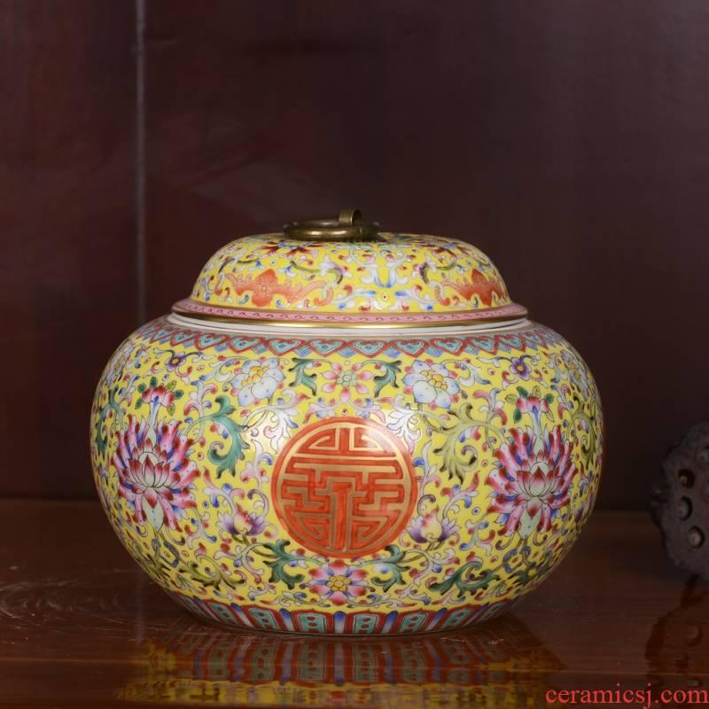 Jingdezhen ceramics high - end antique qianlong bound branch lotus powder enamel storage tank home furnishing articles caddy fixings sitting room