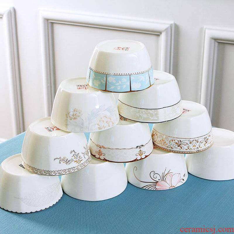 Jingdezhen porcelain ipads 10 square bowl with ceramic dishes suit Nordic creative contracted household tableware to eat rice bowls