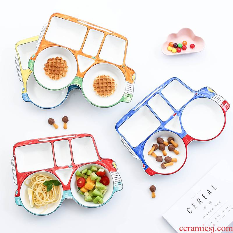 Baby meal plate tableware ceramics creative cartoon car breakfast dish bowl, lovely household space frame plate