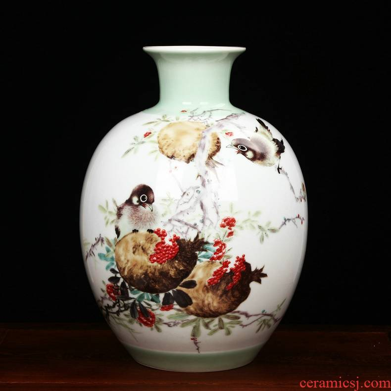 The Master of jingdezhen ceramics Zhu Wu powder enamel prosperous prolong vase household handicraft furnishing articles sitting room