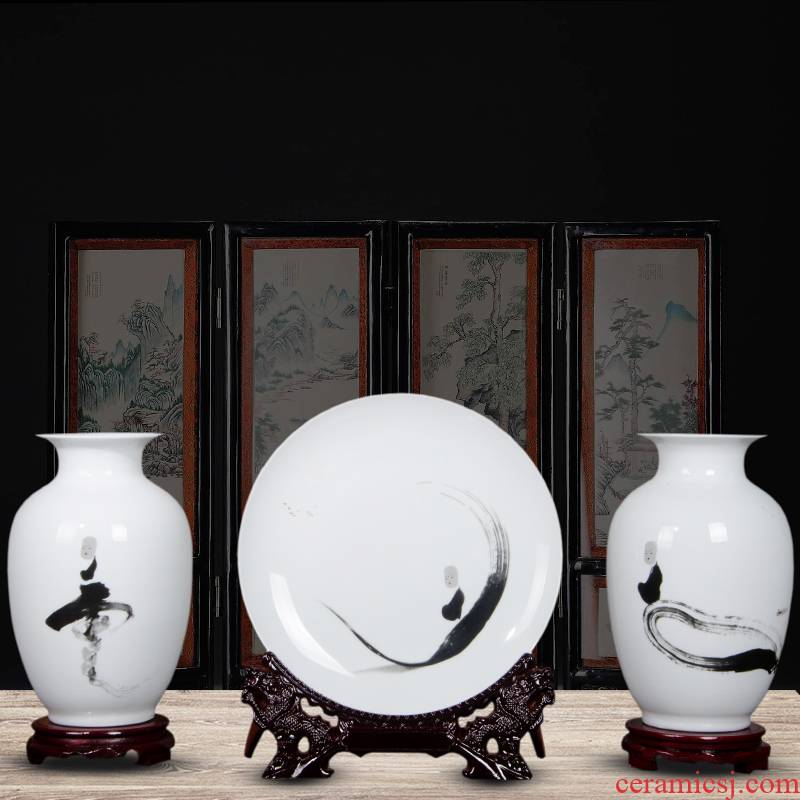 Jingdezhen ceramics zen three - piece floret bottle of flower arrangement, the sitting room of Chinese style household decorations crafts