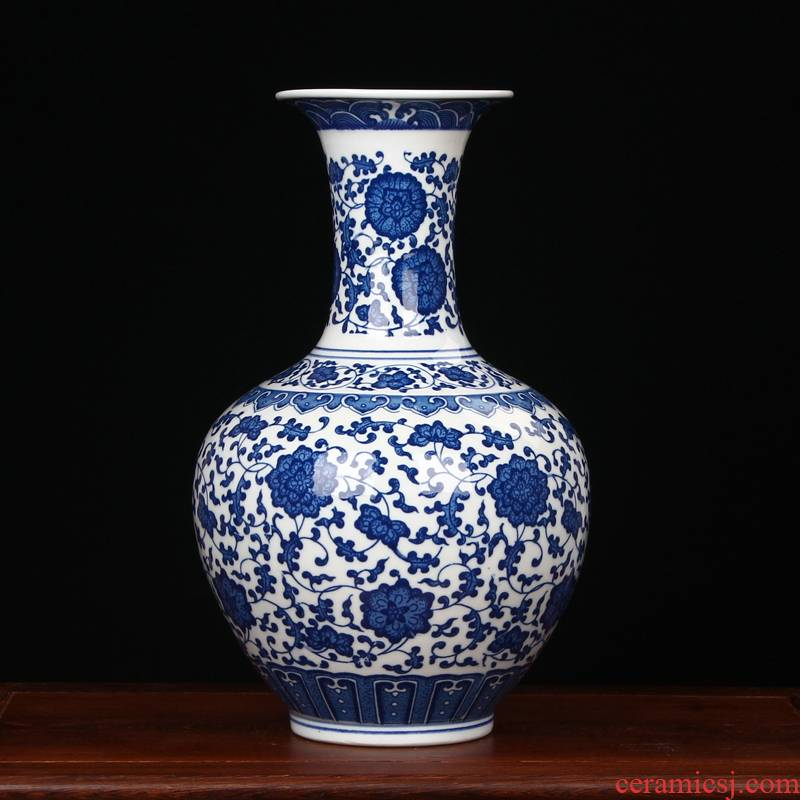 Antique blue and white porcelain in jingdezhen ceramics vase household adornment of I sitting room process fashion furnishing articles