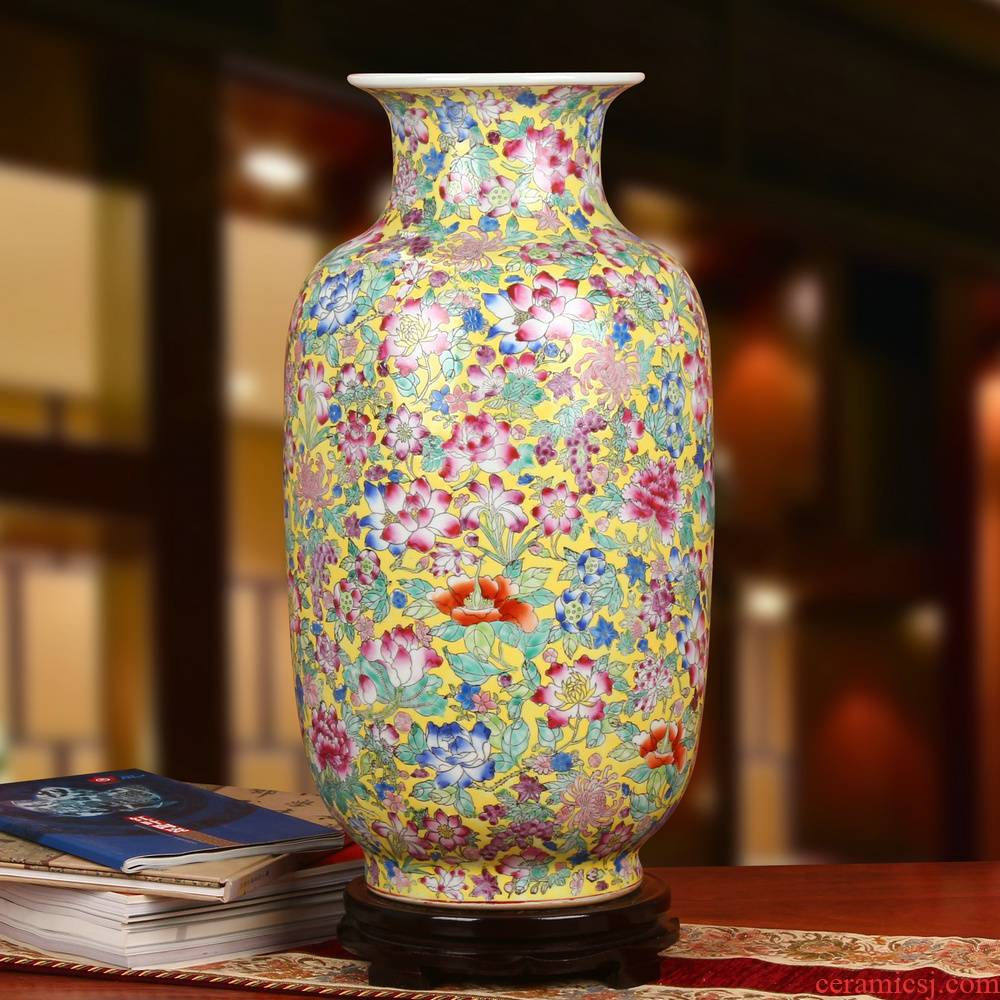 End of jingdezhen ceramics upscale boutique hand - made pastel yellow flower peony Chinese style household of large vase