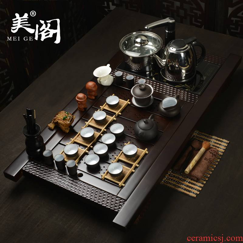 Beauty cabinet household ceramic tea set yixing purple sand of a complete set of kung fu solid wood tea tray induction cooker four unity