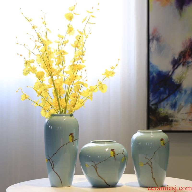 Jingdezhen ceramic vases, new Chinese style table wine porch decoration flower furnishing articles sitting room TV ark, decoration