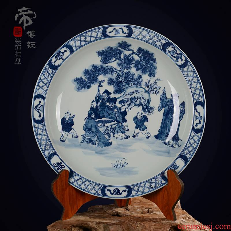 Jingdezhen ceramic decoration plate sit plate hanging dish hand - made antique blue - and - white porcelain handicraft furnishing articles game characters