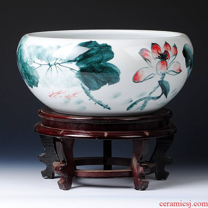 Jingdezhen ceramics basin fish shallow water lotus pond lily hydroponic goldfish turtle cylinder flowerpot furnishing articles by hand