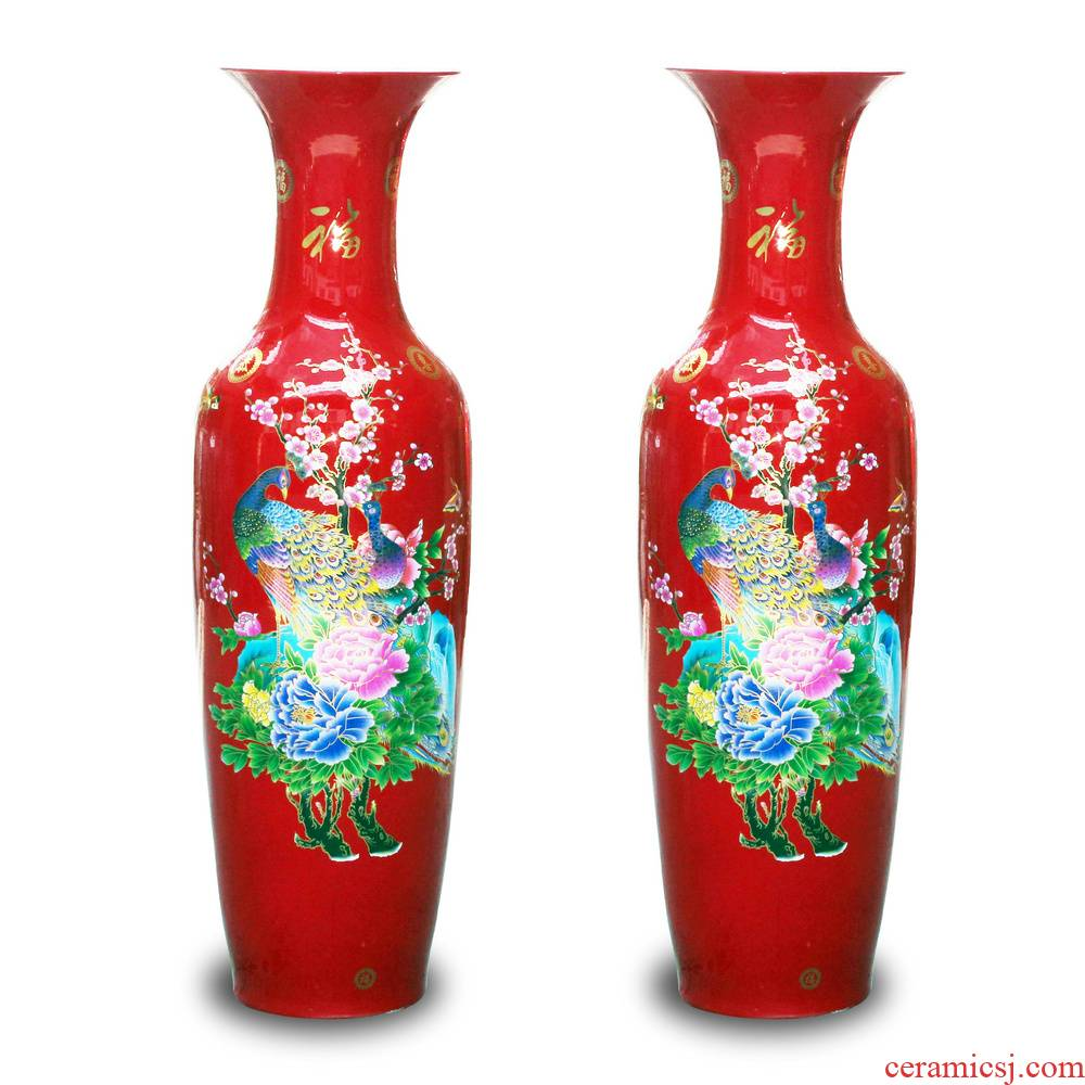 Jingdezhen ceramics China red peacock vase peony riches and honour the contributor of large modern home furnishing articles sitting room