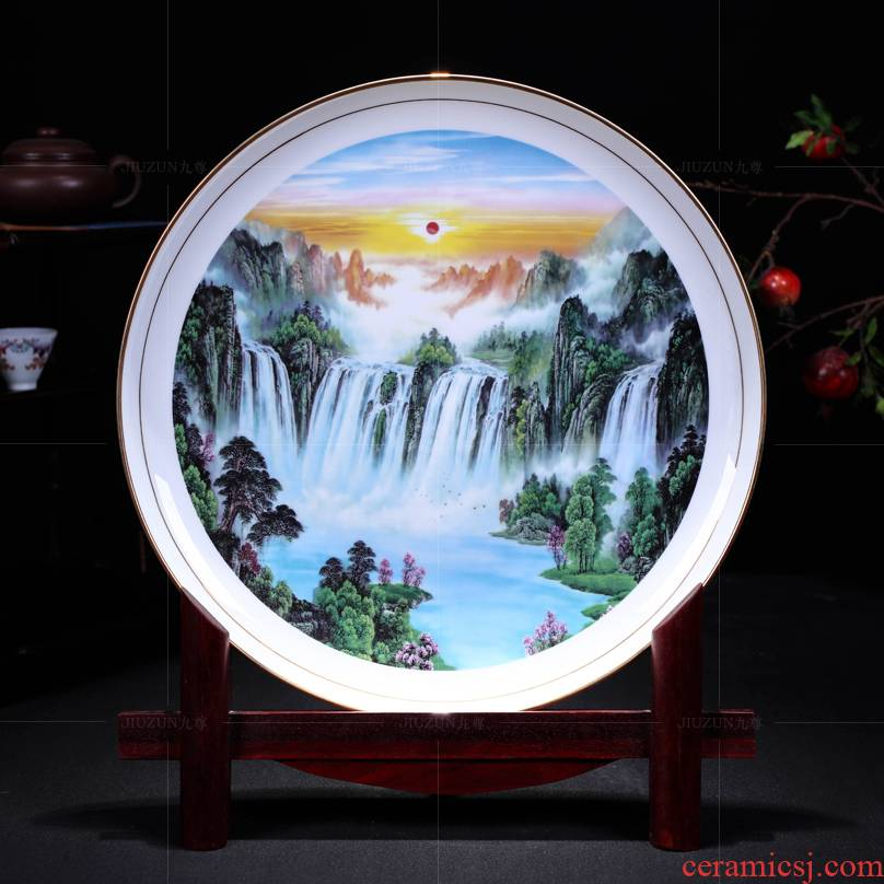 Jingdezhen ceramics decoration see big rivers, hang dish of modern Chinese style living room sat dish dish handicraft
