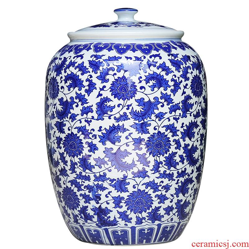 Jingdezhen ceramics large blue and white seal pot sitting room place candy jar household act the role ofing is tasted barrel storage tank