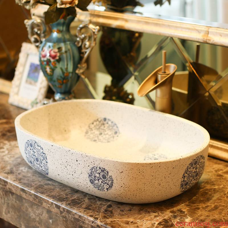 Jingdezhen rain spring basin art ceramic stage basin bathroom elliptical balcony lavatory sink