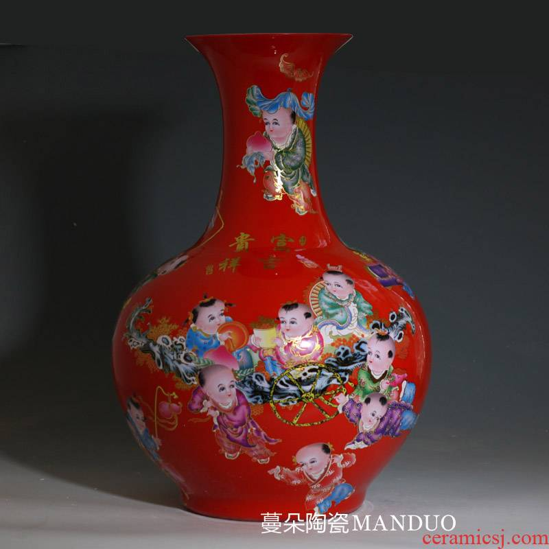 Jingdezhen ceramic bright red the ancient philosophers figure flower vases, the sitting room the bedroom furnishing articles rich ancient frame decorative porcelain vase