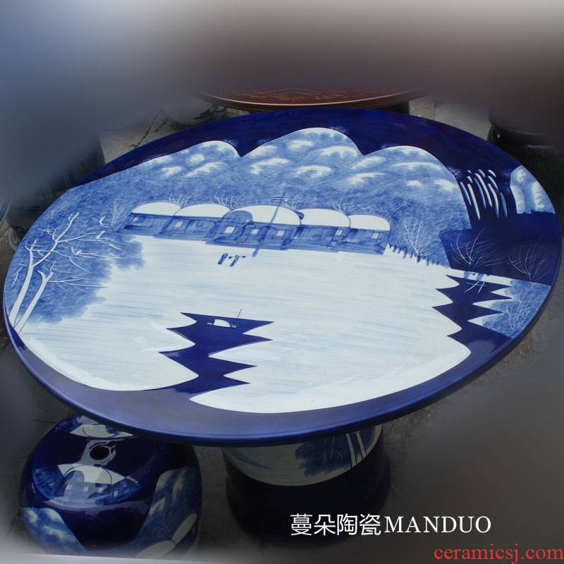 Jingdezhen blue and white snow hand - made porcelain table move courtyard villa porcelain table home is suing the table and who