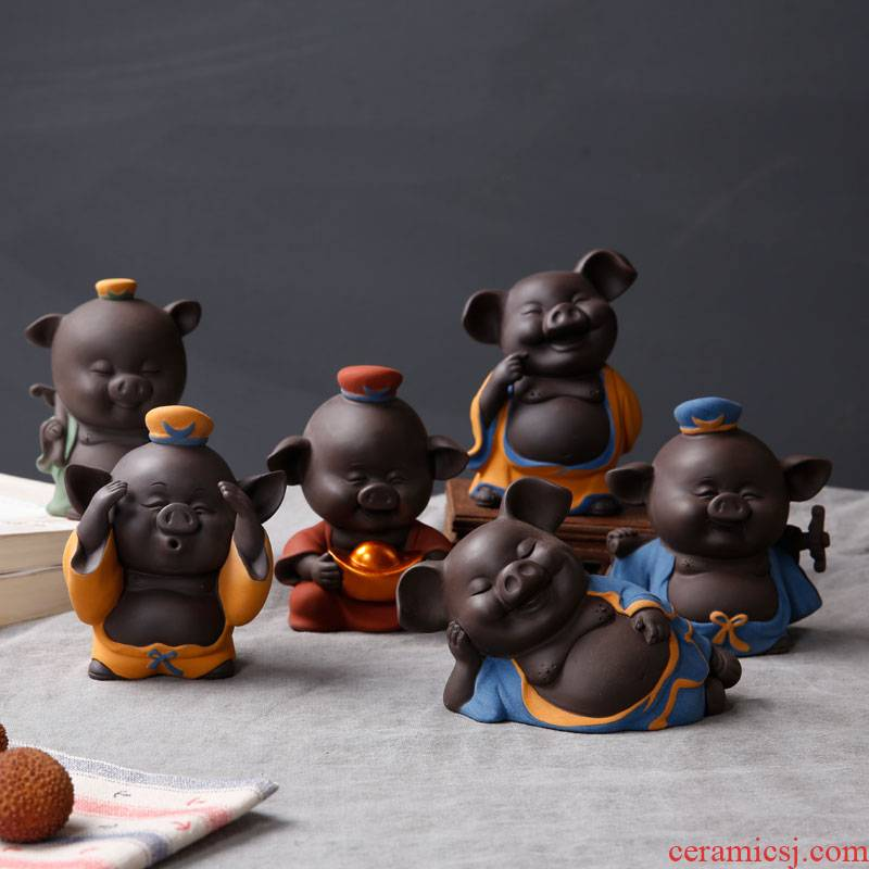 Pet furnishing articles porcelain constant hall see colour sand ceramic tea to raise creative violet arenaceous pig kung fu tea tea accessories