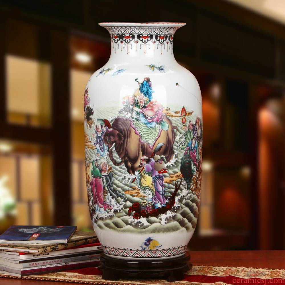 Jingdezhen ceramics 18 arhats idea gourd landing big vase classical Chinese style and traditional crafts