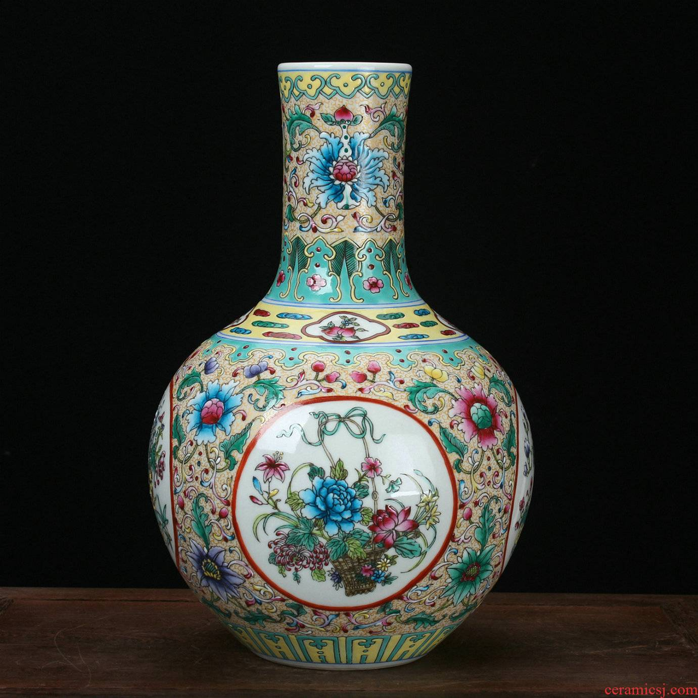 Jingdezhen porcelain vases, antique hand - made enamel pastel color open the world of flowers and birds all celestial vase furnishing articles