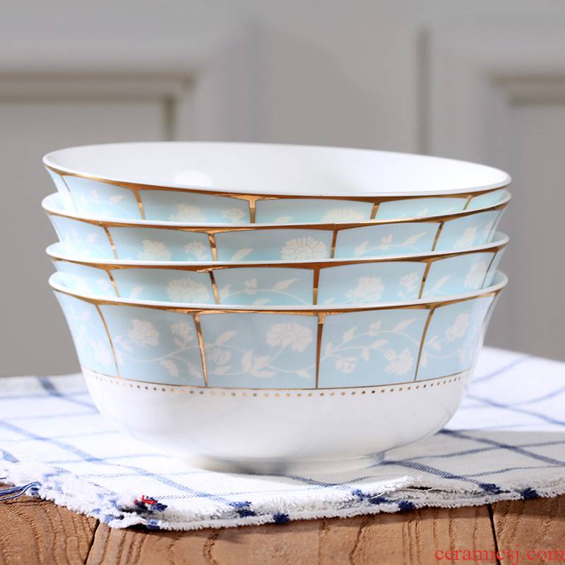 Jingdezhen ceramic bowl suit Chinese ipads porcelain home eat rice bowl noodles soup bowl size 6 inches four dishes