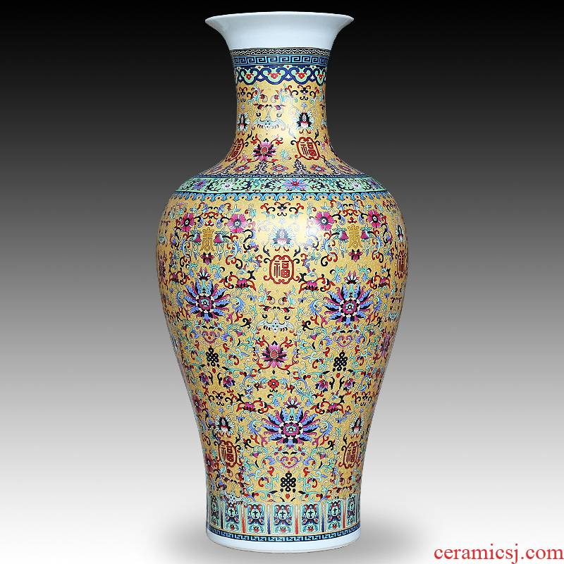 The Sitting room adornment of jingdezhen ceramics enamel decorated TV ark, furnishing articles be born modern Chinese vase