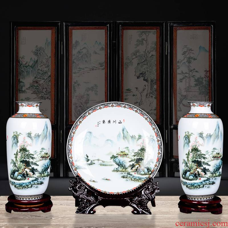Cb72 jingdezhen ceramics vase furnishing articles mountains xiuse three - piece home sitting room adornment handicraft arranging flowers