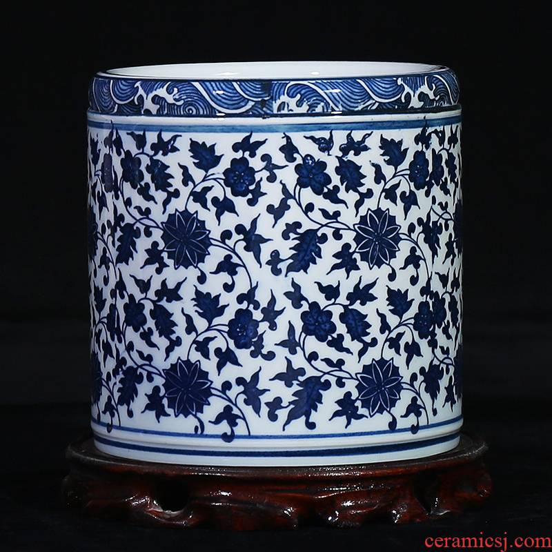 Jingdezhen blue and white porcelain ceramic vase bound branch lotus study classical household brush pot office handicraft furnishing articles
