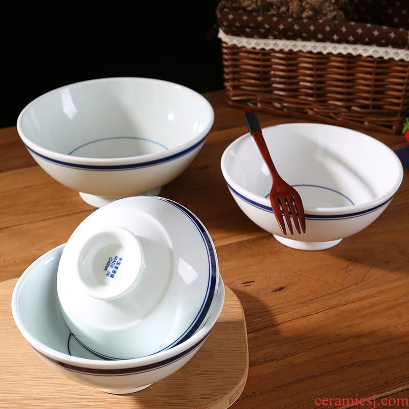 Jingdezhen ceramic bowl home eat tall bowl contracted Japanese - style tableware restoring ancient ways is large salad bowl noodles soup bowl