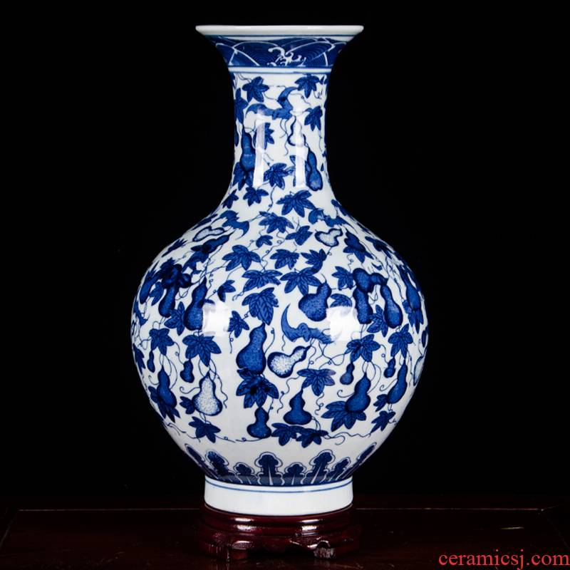 Jingdezhen ceramics vase furnishing articles flower arranging device q9 archaize sitting room of Chinese style household adornment of blue and white porcelain arts and crafts