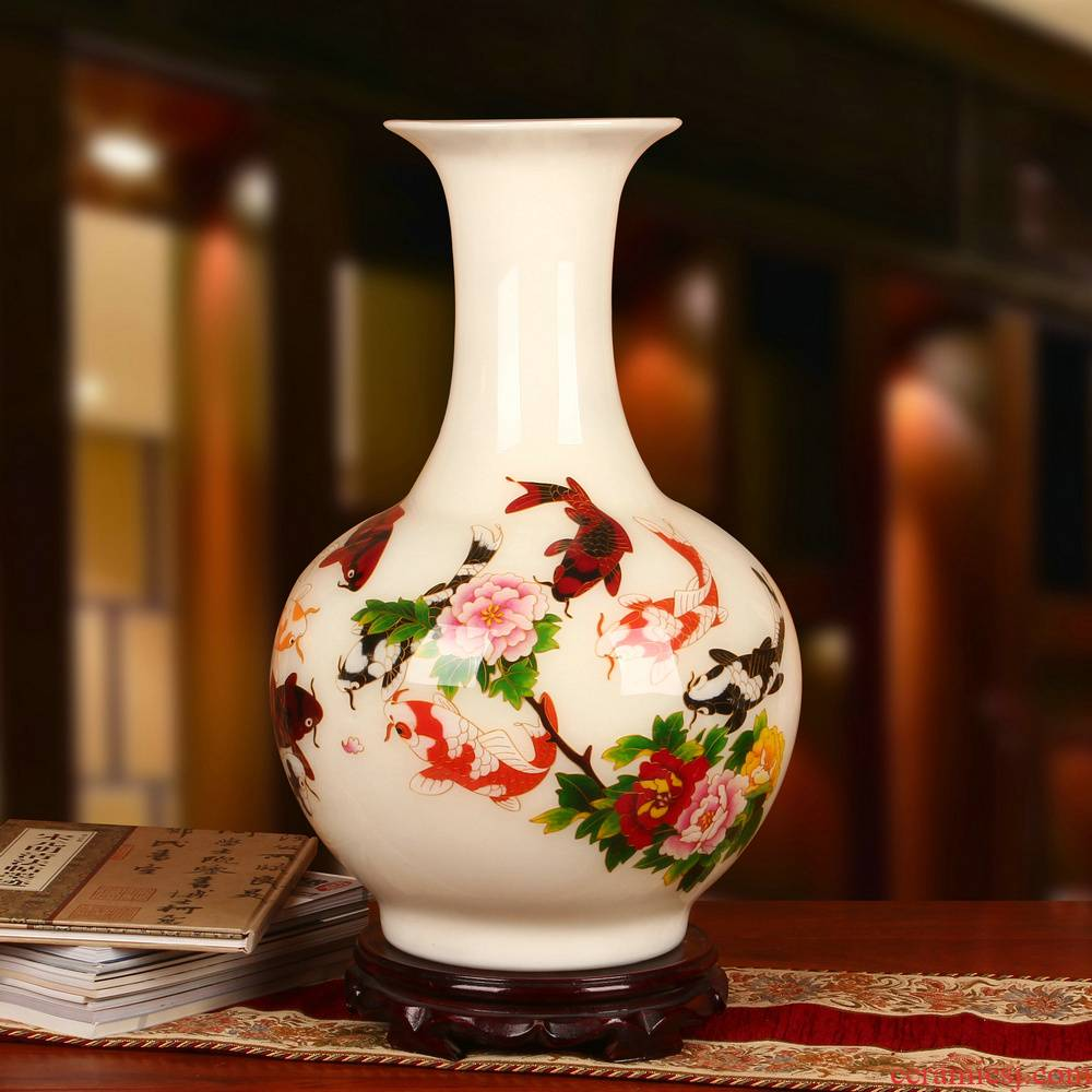 White gold straw lotus in jingdezhen ceramics have fish vase furnishing articles modern rural household decoration decoration