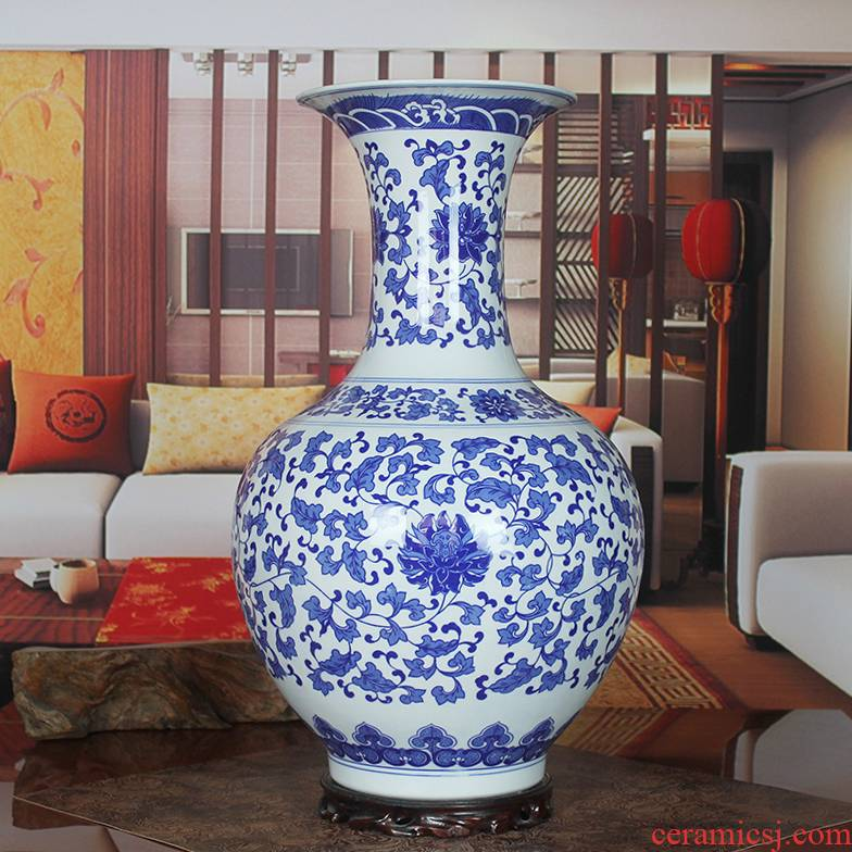 Blue and white porcelain of jingdezhen ceramics bound branch lotus landing a large vase household act the role ofing is tasted furnishing articles sitting room hotel company