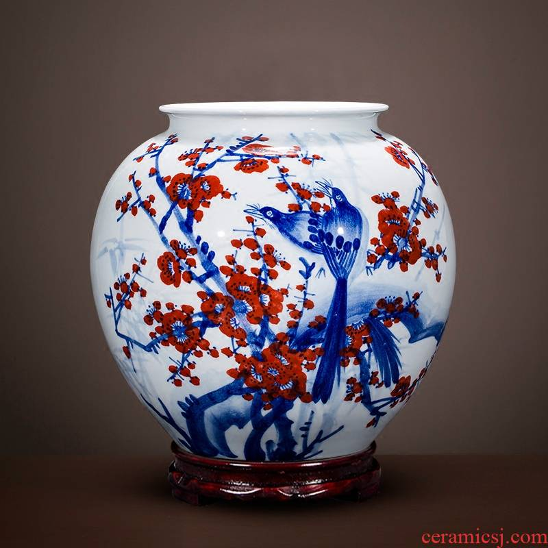 Jingdezhen porcelain vase furnishing articles on Chinese famous master hand - made pot - bellied as cans xi lintel tip home sitting room adornment