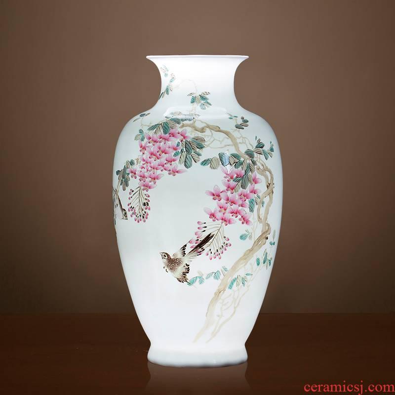 Pure hand made - master of jingdezhen ceramics powder enamel vase sabingga sukdun dergici jimbi collection of new Chinese style sitting room adornment is placed