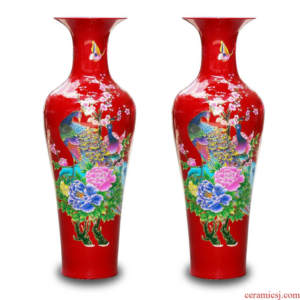 Jingdezhen ceramics China red peony riches and honour the phoenix landing big vase lobby sitting room adornment is placed