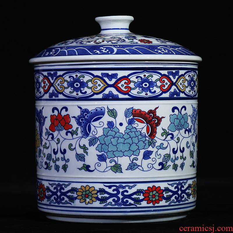 Jingdezhen blue and white ceramics seal pot of Chinese tea pot candy jar household storage tank cover kitchen furnishing articles