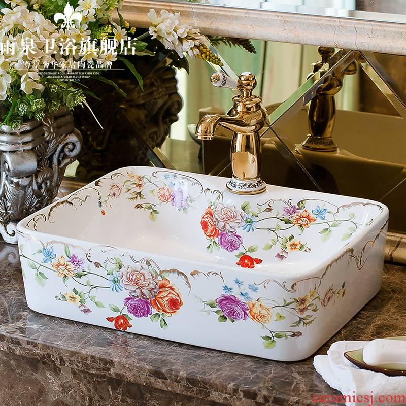 Rain izumidai basin on the ceramic art basin rectangle Europe type lavatory toilet lavabo household the basin that wash a face