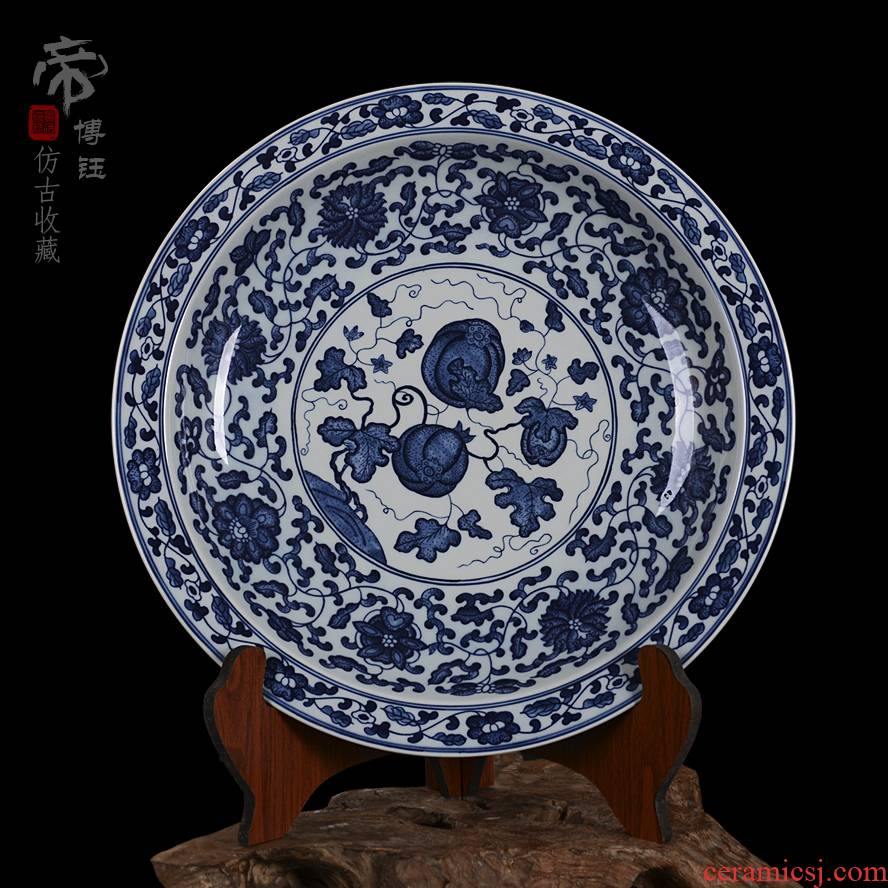 Jingdezhen ceramic decoration plate sit plate hanging dish hand - made antique blue and white lotus flower pumpkin porcelain crafts