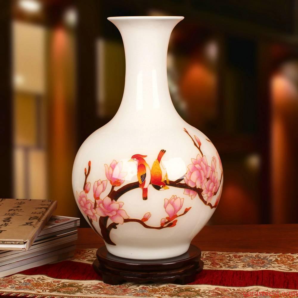 Jingdezhen ceramics gold straw beaming vase crafts decoration modern Chinese study