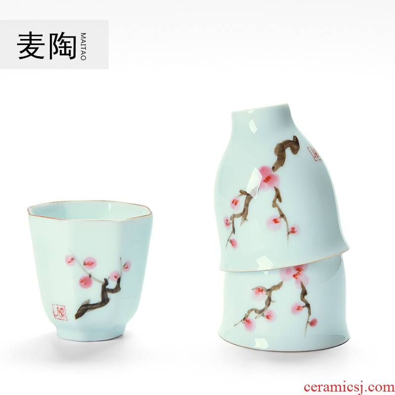 Mike some ceramic China cups tall foot cup sample tea cup hand - made name plum ceramic kung fu tea set master octagon cup