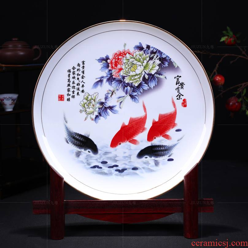 Jingdezhen ceramics decoration hanging dish see well - off modern Chinese style living room sat dish dish handicraft
