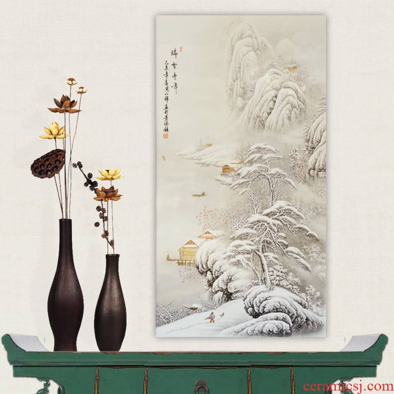 Jingdezhen ceramics Zhou Xiaohui hand - made snow porcelain plate painting home wall act the role ofing sitting room adornment handicraft furnishing articles