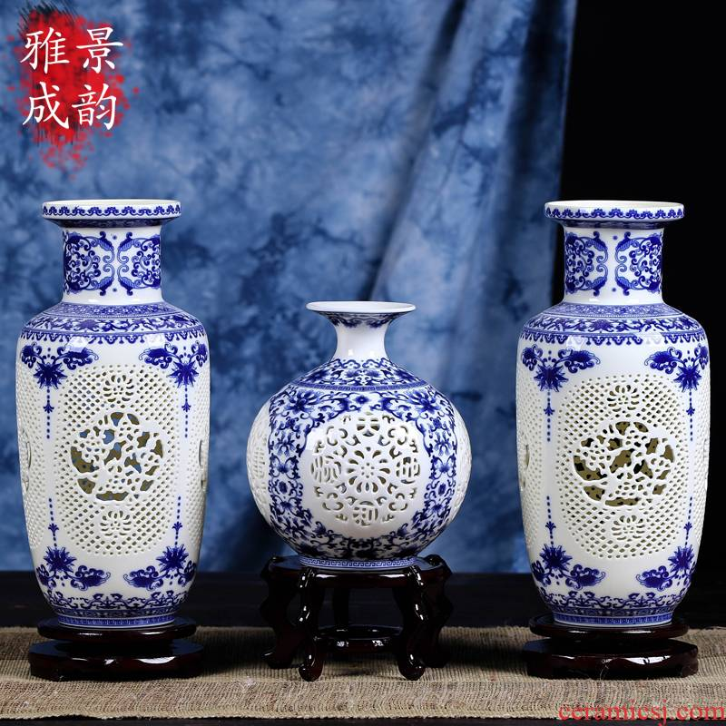 Blue and white Blue porcelain of jingdezhen ceramics hollow - out the vase Chinese zen sitting room all over the sky star, dry flower vases, restore ancient ways