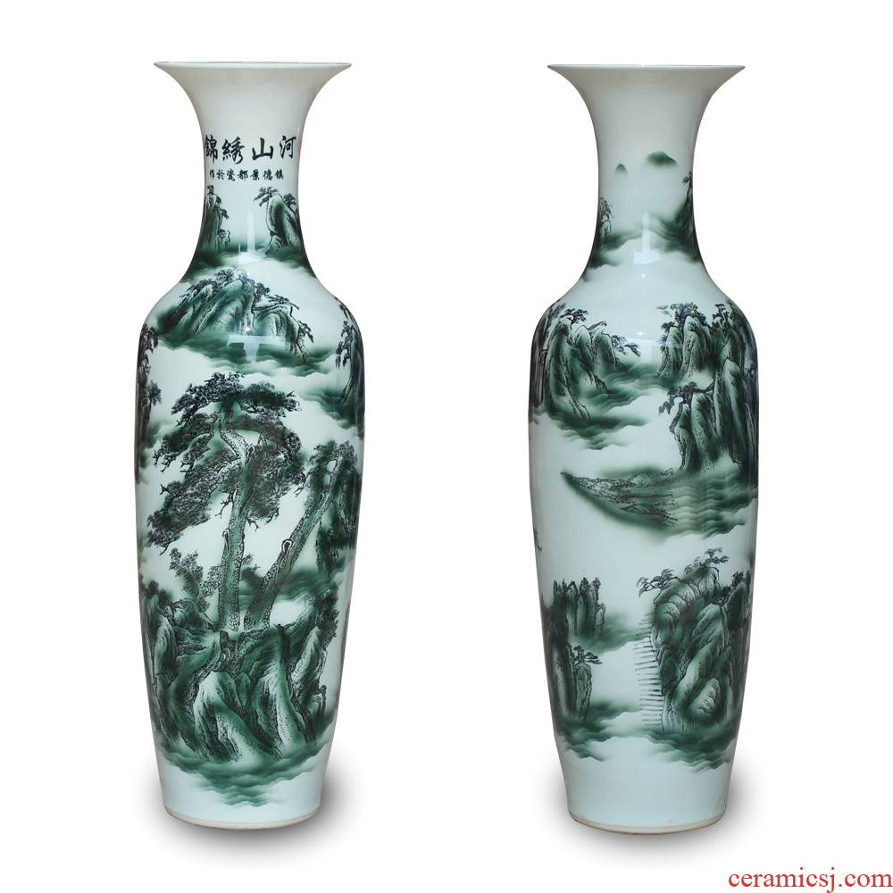 Jingdezhen ceramics ink color landscape jin rust was large vase Chinese sitting room adornment is placed