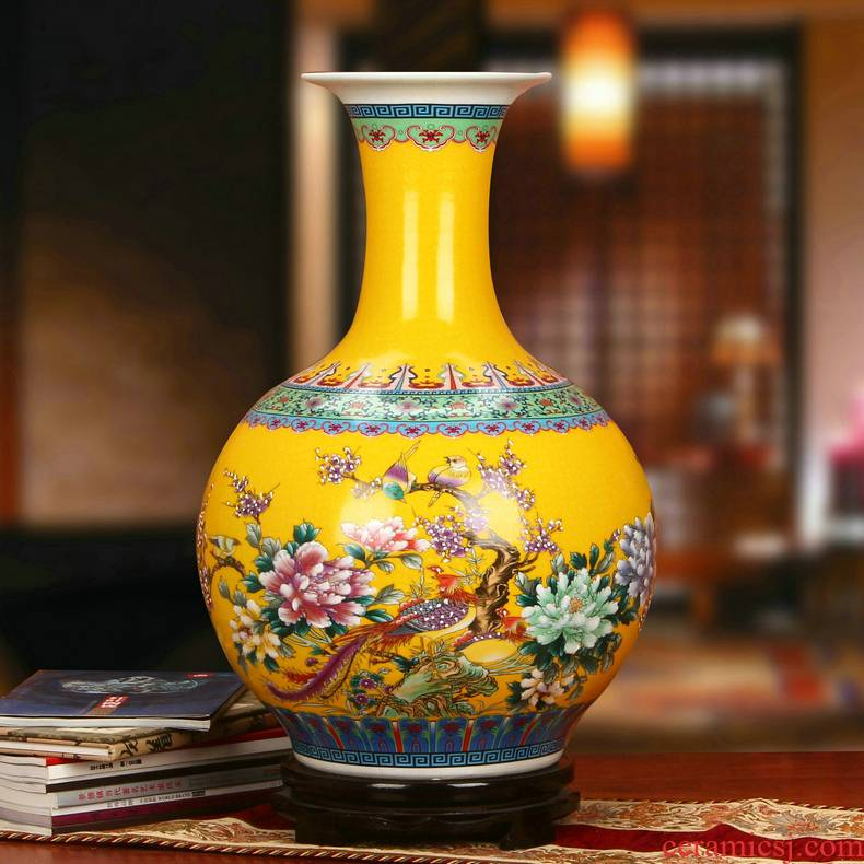 Jingdezhen ceramics Chinese antique yellow phoenix peony flower vases, classical household decorations furnishing articles