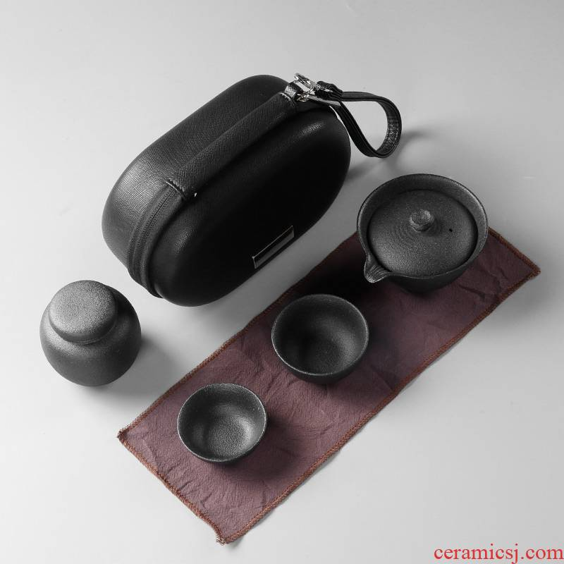 The Crack of a pot of 2 cup coarse pottery portable travel package ceramic kung fu tea sets of household contracted teapot