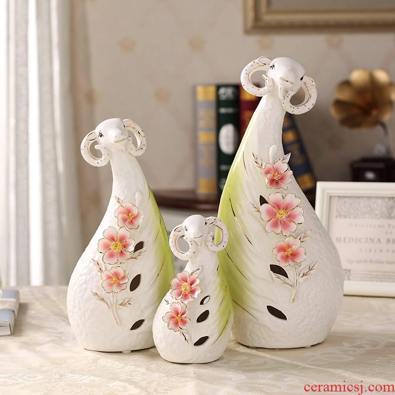 Jump in the family of three Chinese zodiac sheep European furnishing articles ceramics handicraft creative home decoration decoration TV ark