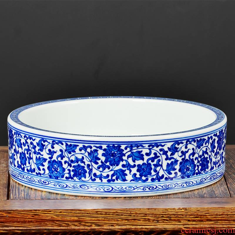 Jingdezhen ceramic antique hand - made tangle of blue and white porcelain lotus flower place Chinese desktop sitting room adornment writing brush washer water is shallow