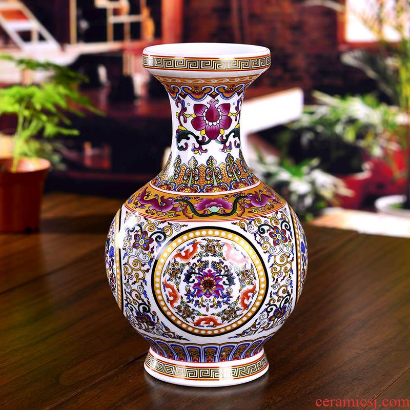 Jingdezhen ceramics enamel enamel floret bottle of modern fashion household act the role ofing is tasted classical handicraft furnishing articles sitting room