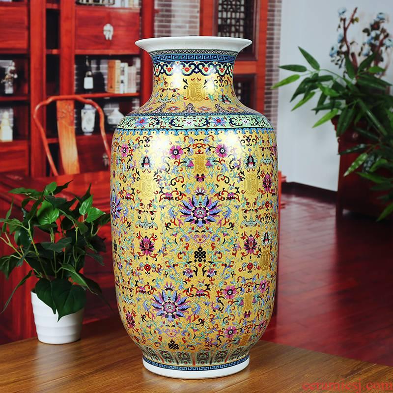 Jingdezhen ceramics colored enamel vase modern home sitting room adornment branch lotus company landing furnishing articles