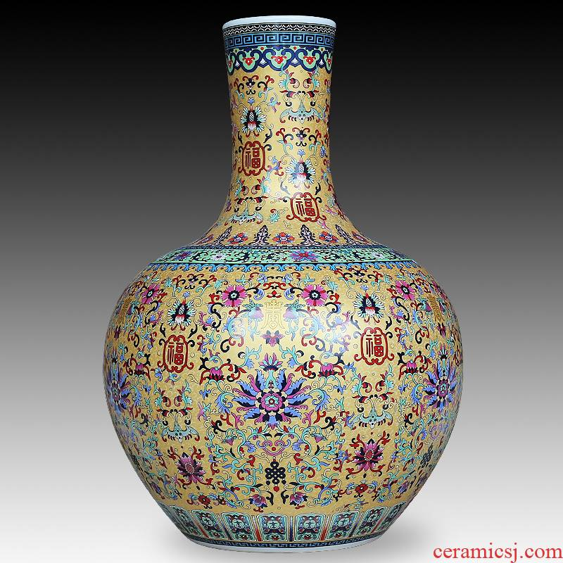 Jingdezhen ceramics enamel color TV as ano receptacle furnishing articles sitting room adornment of modern Chinese style of large vase